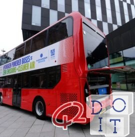 Two-storey hydrogen bus arriving in Liverpool
