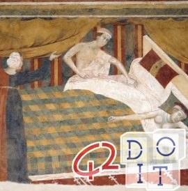 edad media, sueño, almohadas, colchón, Cámara del Podestà, San Gimignano,