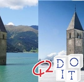 Resia, Val Venosta, lac, Tyrol du Sud, Italie, voyage, tourisme, clocher, submergé, clocher immergé,
